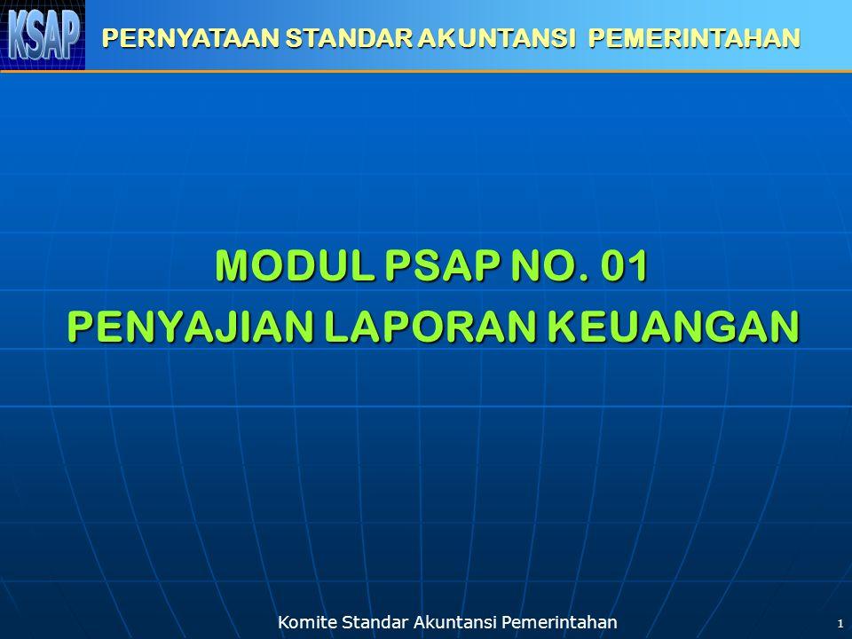 Komite Standar Akuntansi Pemerintahan 1 MODUL PSAP NO. 01 PENYAJIAN LAPORAN KEUANGAN PERNYATAAN STANDAR AKUNTANSI PEMERINTAHAN