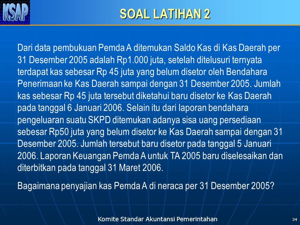 Komite Standar Akuntansi Pemerintahan 34 SOAL LATIHAN 2 Dari data pembukuan Pemda A ditemukan Saldo Kas di Kas Daerah per 31 Desember 2005 adalah Rp1.
