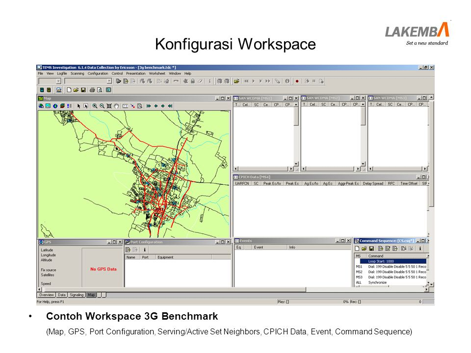 Konfigurasi Workspace •Contoh Workspace 3G Benchmark (Map, GPS, Port Configuration, Serving/Active Set Neighbors, CPICH Data, Event, Command Sequence)