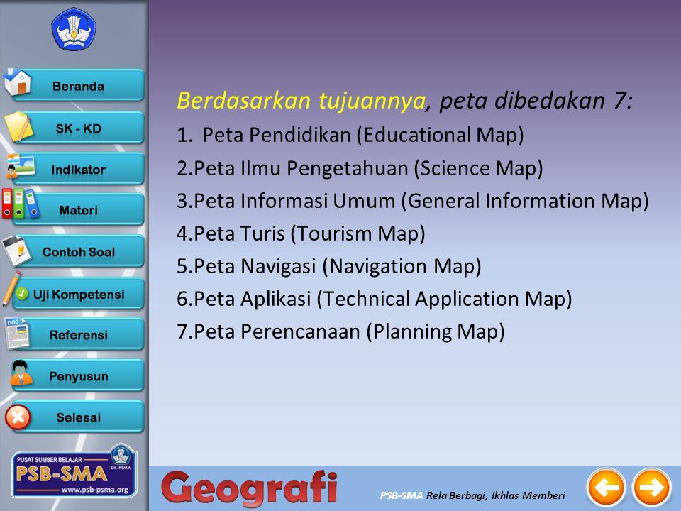 PSB-SMA Rela Berbagi, Ikhlas Memberi Berdasarkan keadaan obyeknya, peta dibedakan menjadi 2: yaitu: 1.Peta dinamik yaitu peta yang menggambarkan fenom