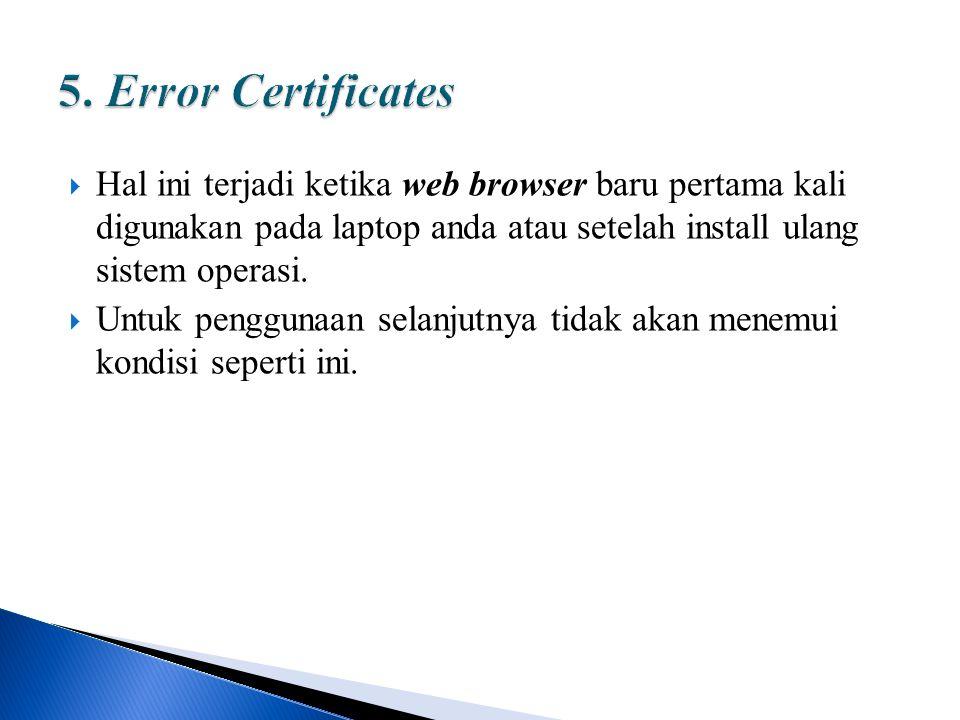  Hal ini terjadi ketika web browser baru pertama kali digunakan pada laptop anda atau setelah install ulang sistem operasi.