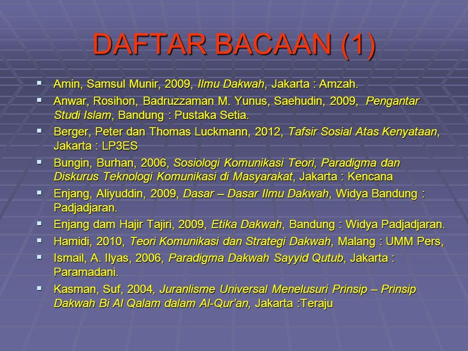 DAFTAR BACAAN (1)  Amin, Samsul Munir, 2009, Ilmu Dakwah, Jakarta : Amzah.  Anwar, Rosihon, Badruzzaman M. Yunus, Saehudin, 2009, Pengantar Studi Is