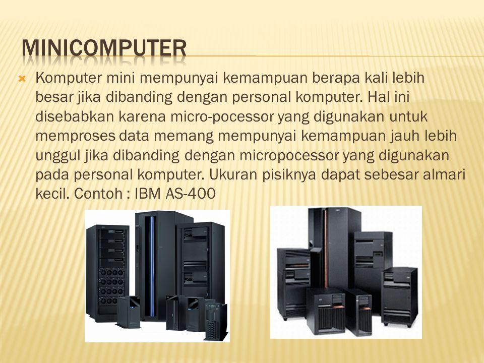  Komputer mini mempunyai kemampuan berapa kali lebih besar jika dibanding dengan personal komputer.