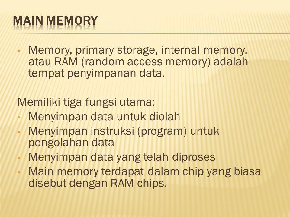 • Memory, primary storage, internal memory, atau RAM (random access memory) adalah tempat penyimpanan data.