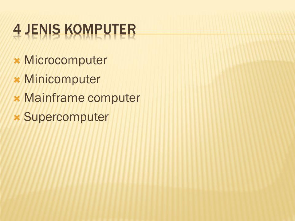  Microcomputer  Minicomputer  Mainframe computer  Supercomputer