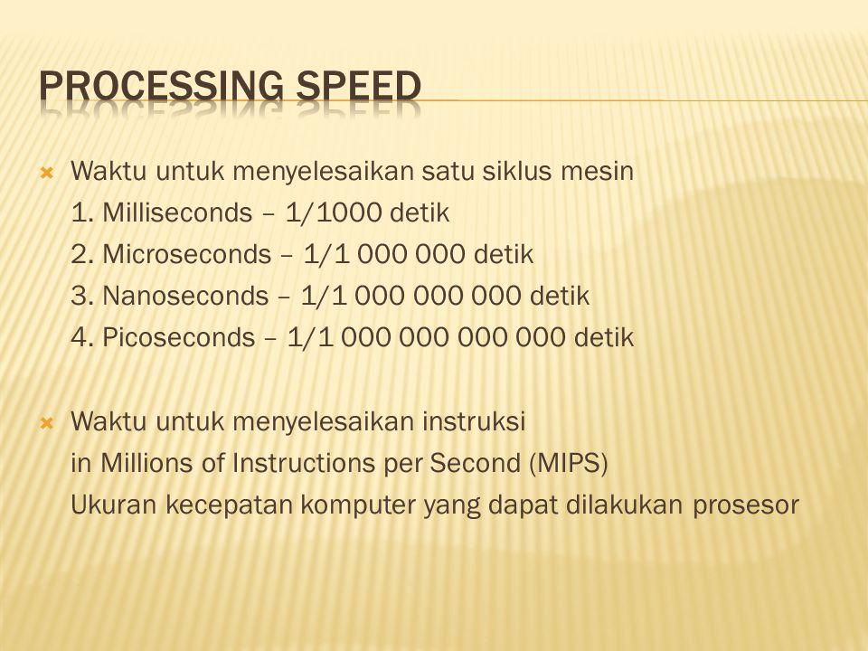  Waktu untuk menyelesaikan satu siklus mesin 1. Milliseconds – 1/1000 detik 2.