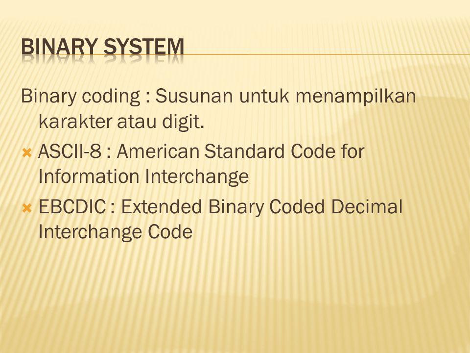 Binary coding : Susunan untuk menampilkan karakter atau digit.