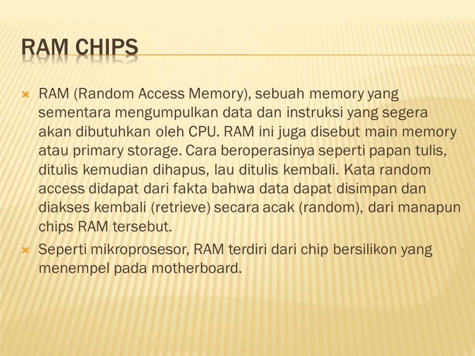  RAM (Random Access Memory), sebuah memory yang sementara mengumpulkan data dan instruksi yang segera akan dibutuhkan oleh CPU.