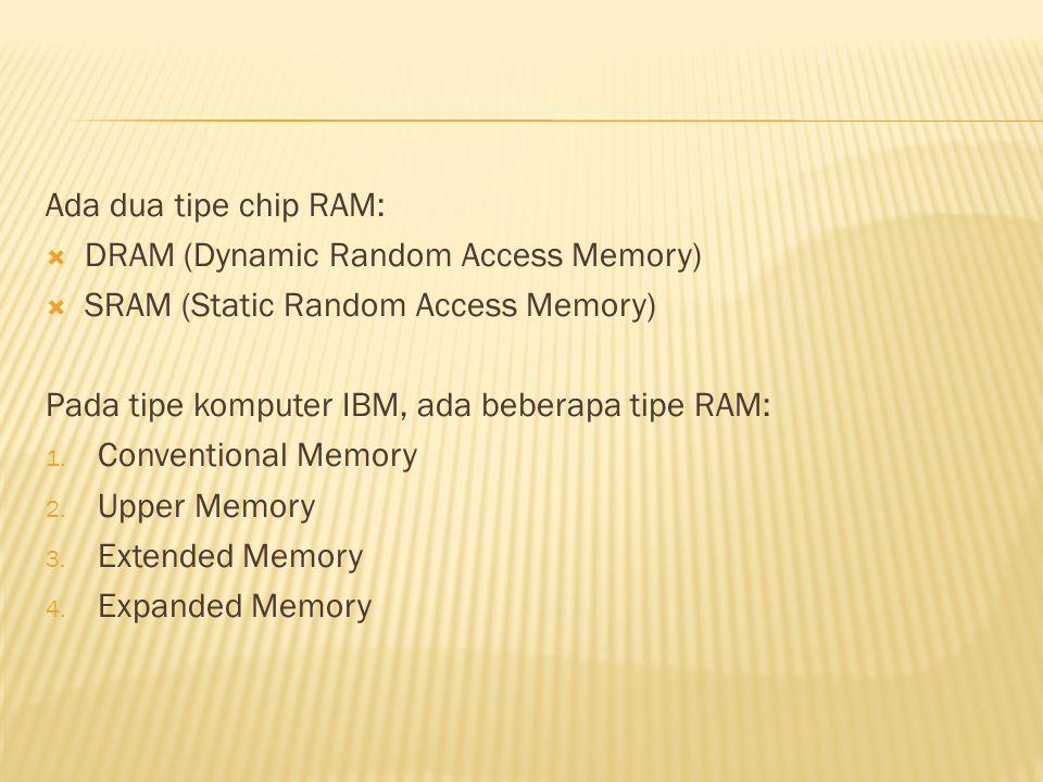 Ada dua tipe chip RAM:  DRAM (Dynamic Random Access Memory)  SRAM (Static Random Access Memory) Pada tipe komputer IBM, ada beberapa tipe RAM: 1.