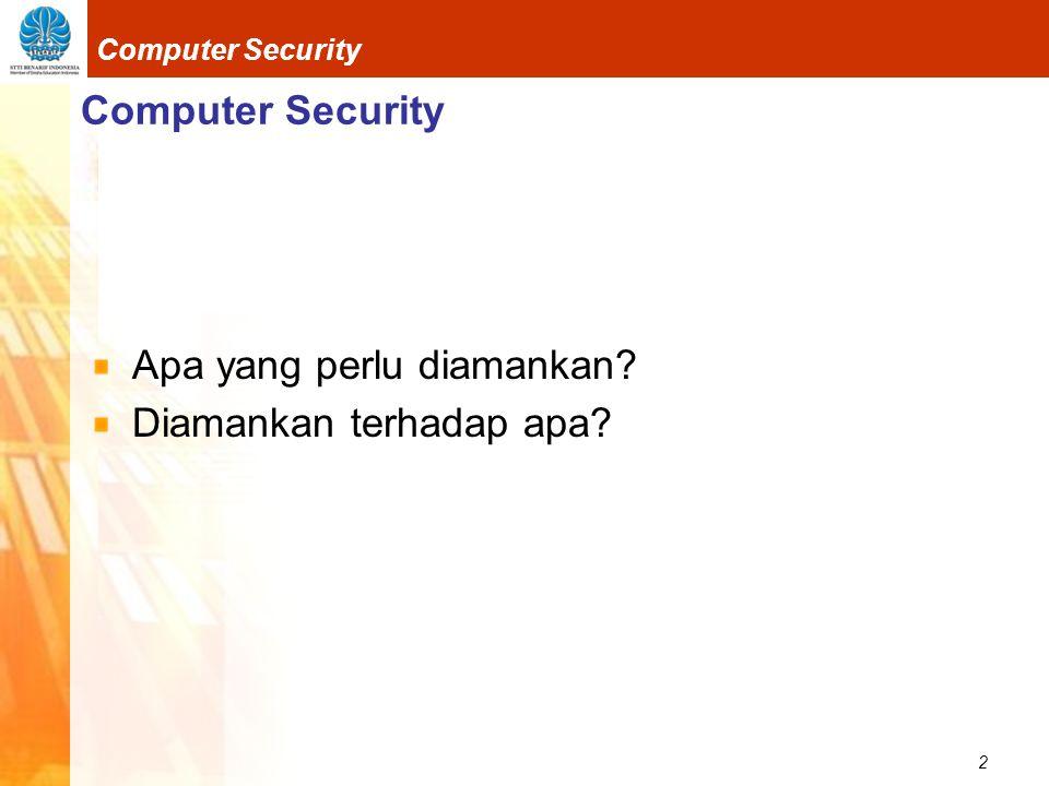 2 Computer Security Apa yang perlu diamankan? Diamankan terhadap apa?
