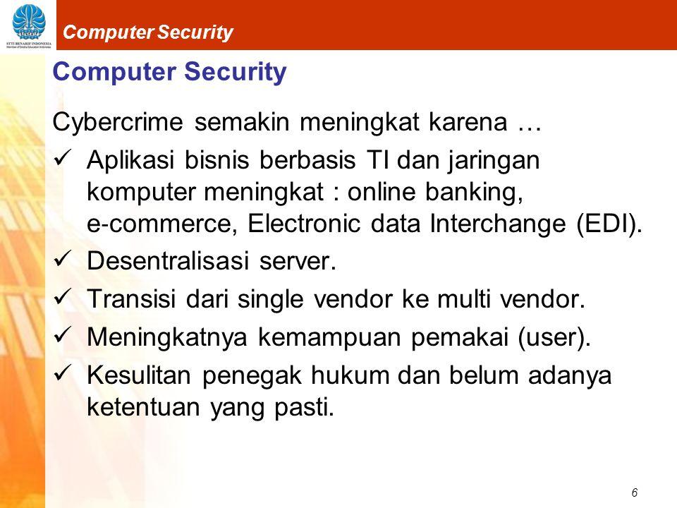 6 Computer Security Cybercrime semakin meningkat karena …  Aplikasi bisnis berbasis TI dan jaringan komputer meningkat : online banking, e ‐ commerce