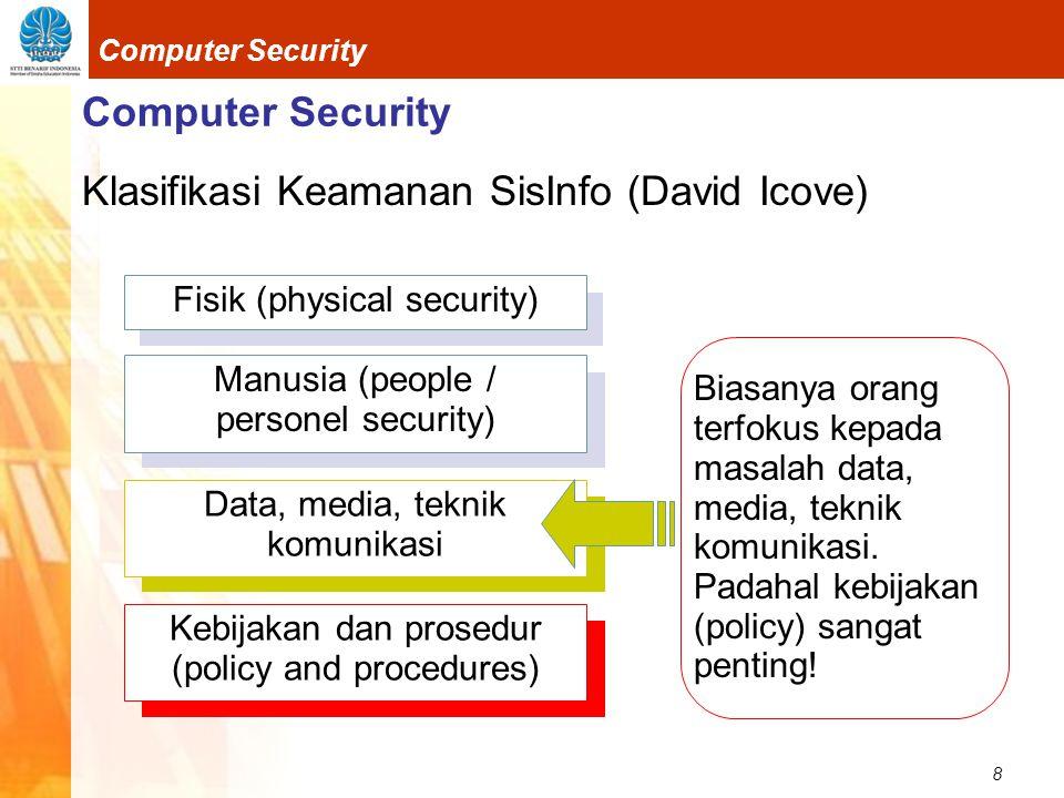 8 Computer Security Klasifikasi Keamanan SisInfo (David Icove) Fisik (physical security) Manusia (people / personel security) Data, media, teknik komu