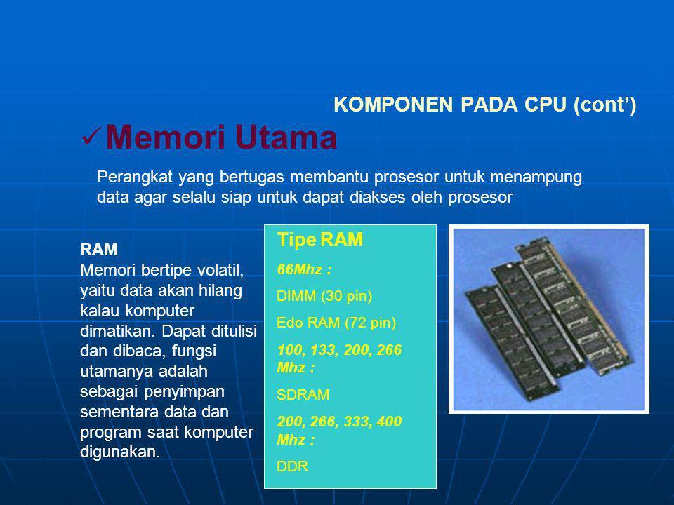 KOMPONEN PADA CPU (cont') Perangkat tambahan untuk menangani berbagai macam fungsi pada suatu sistem CPU. Kartu Grafis Kartu Suara Kartu Jaringan Kart