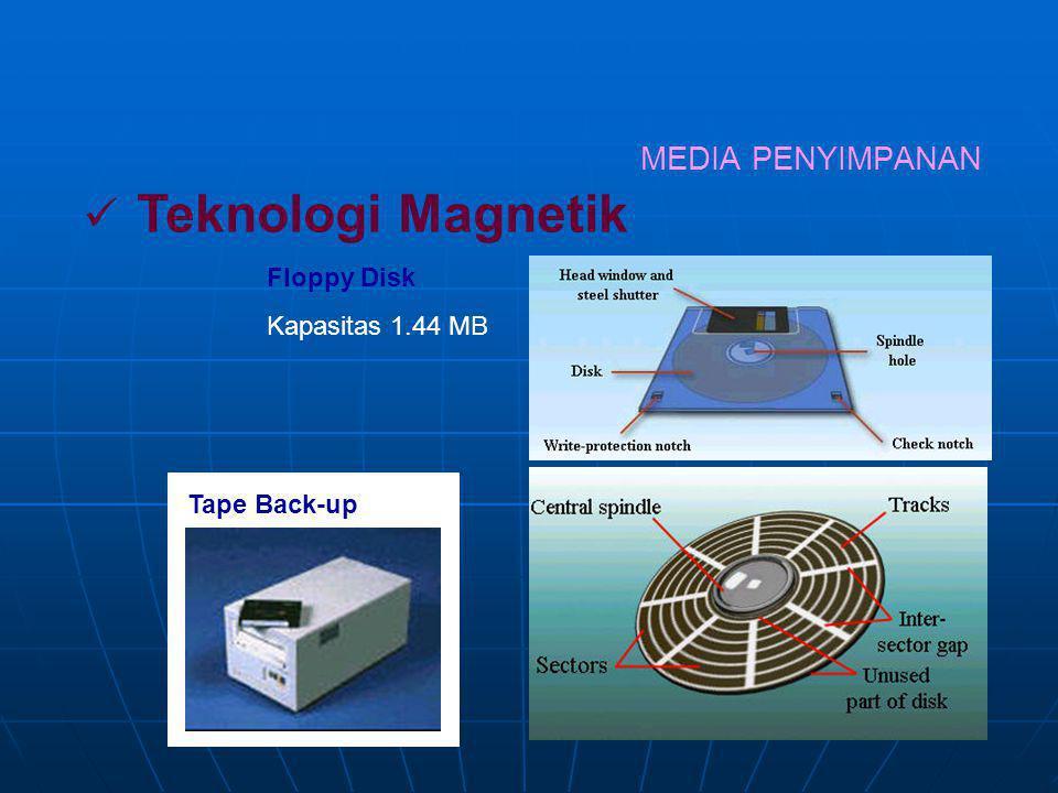 2. MEDIA PENYIMPANAN Merupakan memori pembantu, sering disebut secondary storage, digunakan untuk menyimpan program atau data yang tidak aktif, yaitu