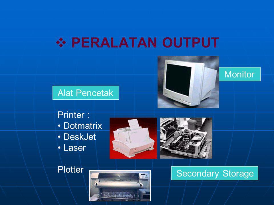  PERALATAN INPUT Papan Ketik (Keyboard) Mouse / Trackball Pencitra digital (Scanner) / Kamera Digital Joystick Pencitra Video