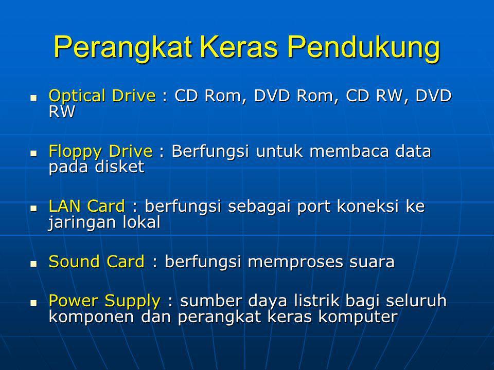 Perangkat Keras Pendukung  Optical Drive : CD Rom, DVD Rom, CD RW, DVD RW  Floppy Drive : Berfungsi untuk membaca data pada disket  LAN Card : berfungsi sebagai port koneksi ke jaringan lokal  Sound Card : berfungsi memproses suara  Power Supply : sumber daya listrik bagi seluruh komponen dan perangkat keras komputer