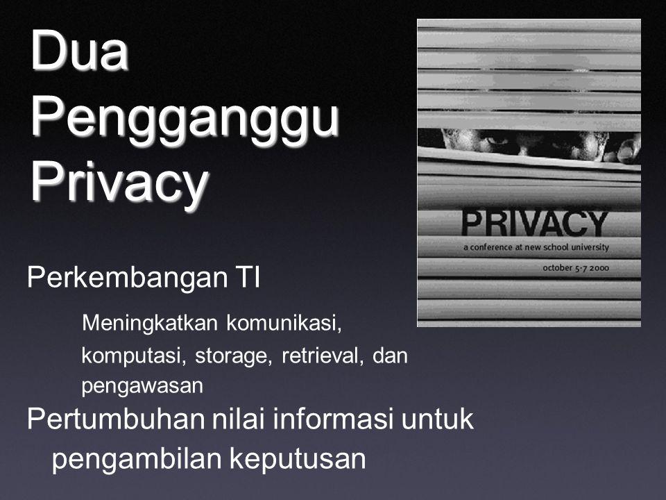 Dua Pengganggu Privacy Perkembangan TI Meningkatkan komunikasi, komputasi, storage, retrieval, dan pengawasan Pertumbuhan nilai informasi untuk pengam