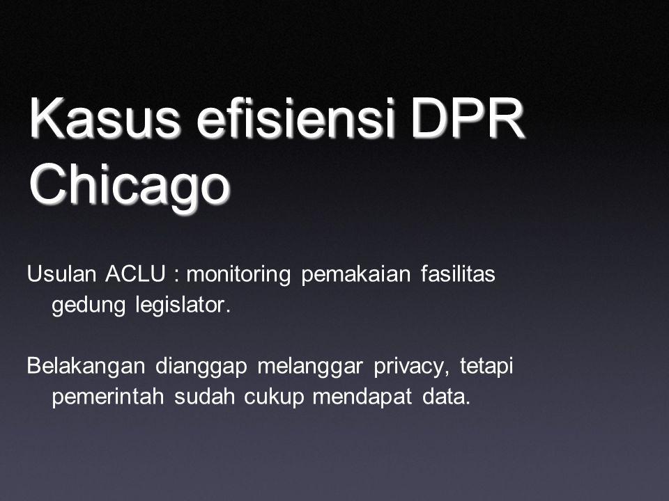 Kasus efisiensi DPR Chicago Usulan ACLU : monitoring pemakaian fasilitas gedung legislator. Belakangan dianggap melanggar privacy, tetapi pemerintah s