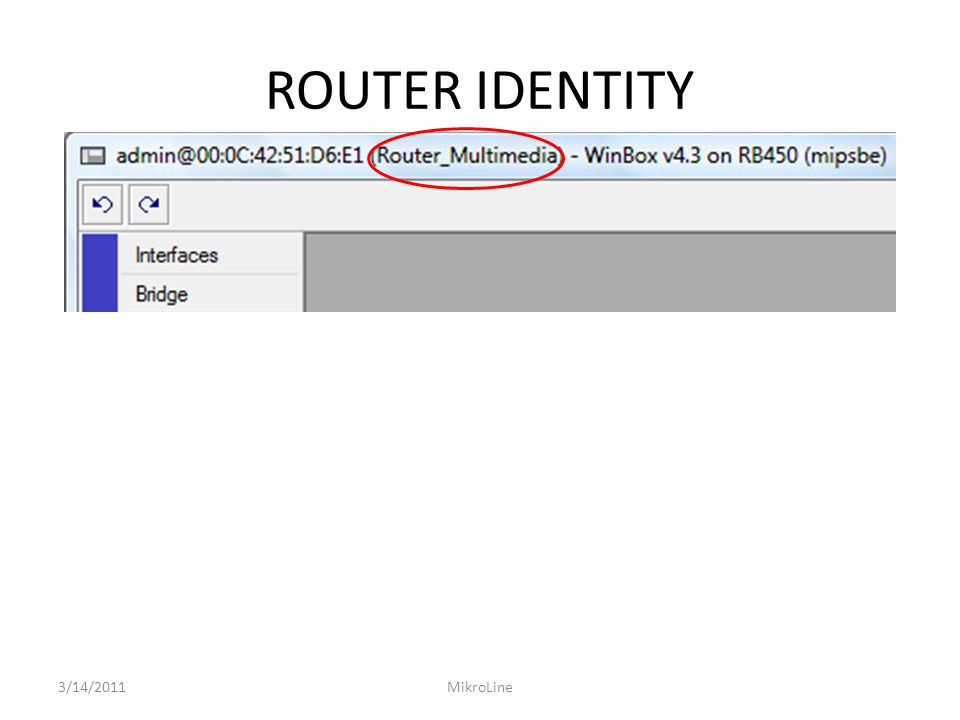 ROUTER IDENTITY 3/14/2011MikroLine