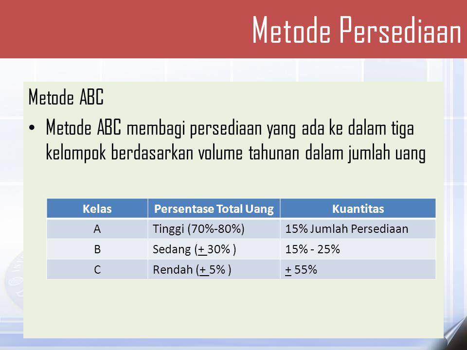 Metode ABC Kebijakan yang dapat didasarkan pada analisis ABC sebagai berikut: 1.Perkembangan sumber daya pembelian yang dibayarkan kepada pemasok harus lebih tinggi untuk butir persediaan A dibandingkan butir persediaan C.
