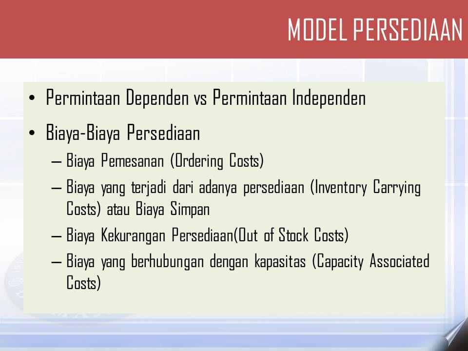 • MODEL-MODEL SEDERHANA PERSEDIAAN UNTUK PERMINTAAN INDEPENDEN – Model dasar Economic Order Quantity (EOQ) – Model Production Order Quantity – Model Quantity Discount MODEL PERSEDIAAN