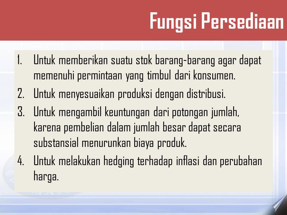 5.Untuk menghindari dari kekurangan stok yang dapat terjadi karena cuaca, kekurangan pasokan, masalah mutu, atau pengiriman yang tidak tepat.