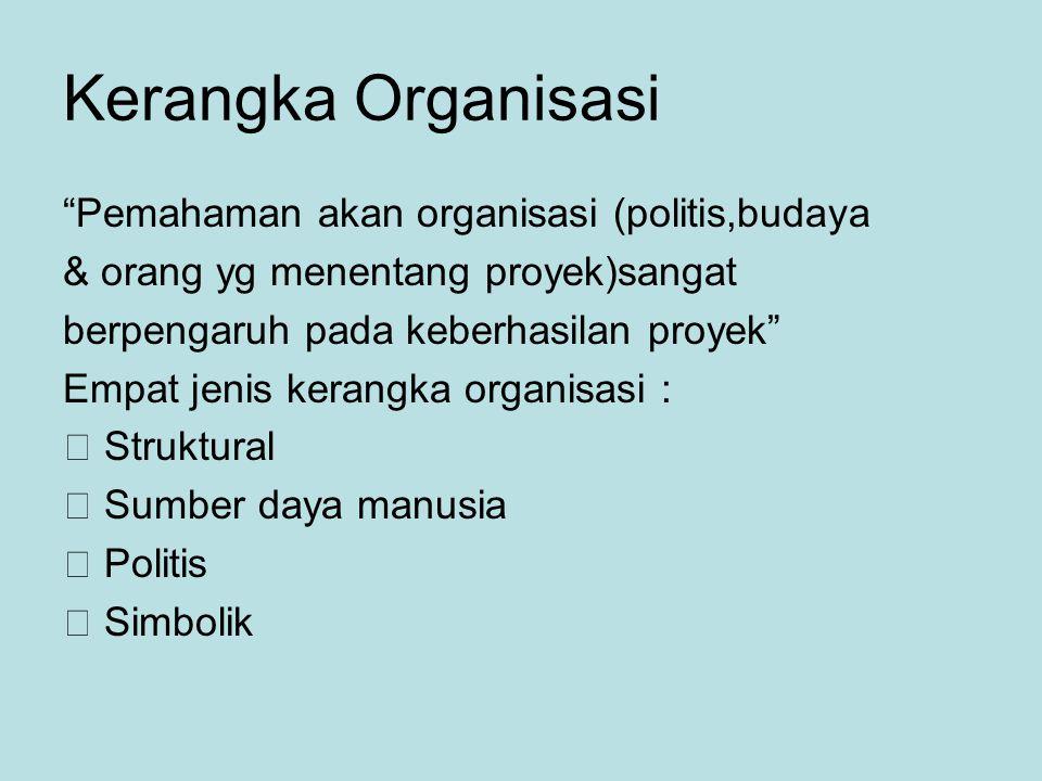 Kerangka Organisasi Pemahaman akan organisasi (politis,budaya & orang yg menentang proyek)sangat berpengaruh pada keberhasilan proyek Empat jenis kerangka organisasi :  Struktural  Sumber daya manusia  Politis  Simbolik