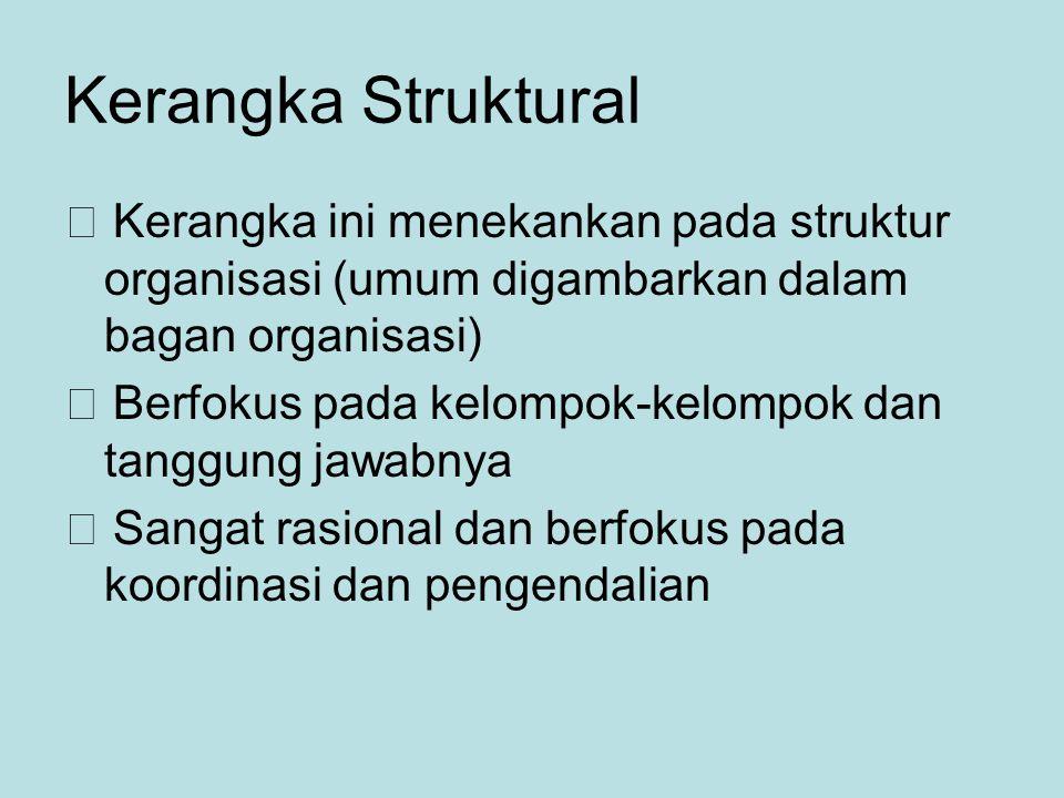 Kerangka Struktural  Kerangka ini menekankan pada struktur organisasi (umum digambarkan dalam bagan organisasi)  Berfokus pada kelompok-kelompok dan tanggung jawabnya  Sangat rasional dan berfokus pada koordinasi dan pengendalian