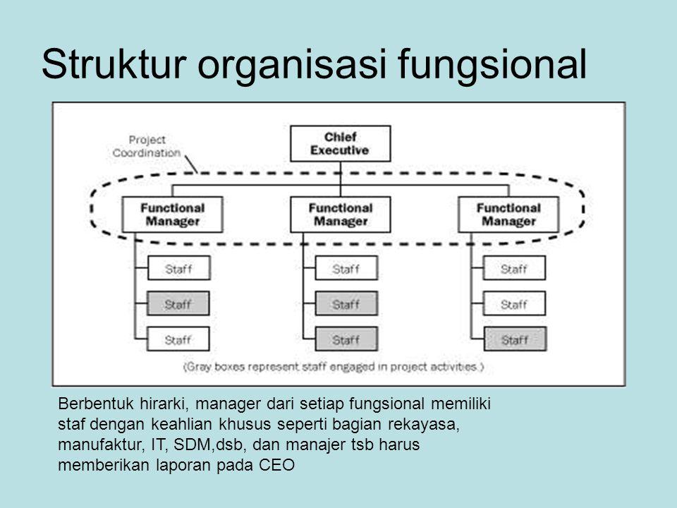 Struktur organisasi fungsional Berbentuk hirarki, manager dari setiap fungsional memiliki staf dengan keahlian khusus seperti bagian rekayasa, manufaktur, IT, SDM,dsb, dan manajer tsb harus memberikan laporan pada CEO