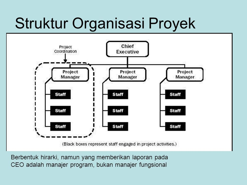 Struktur Organisasi Proyek Berbentuk hirarki, namun yang memberikan laporan pada CEO adalah manajer program, bukan manajer fungsional