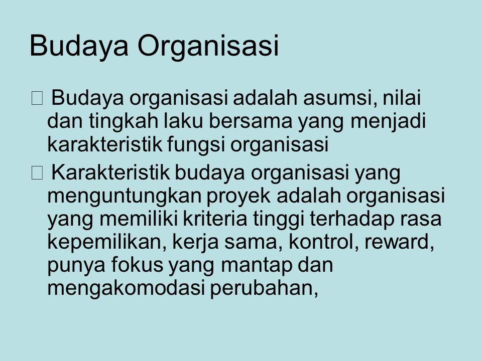 Budaya Organisasi  Budaya organisasi adalah asumsi, nilai dan tingkah laku bersama yang menjadi karakteristik fungsi organisasi  Karakteristik budaya organisasi yang menguntungkan proyek adalah organisasi yang memiliki kriteria tinggi terhadap rasa kepemilikan, kerja sama, kontrol, reward, punya fokus yang mantap dan mengakomodasi perubahan,
