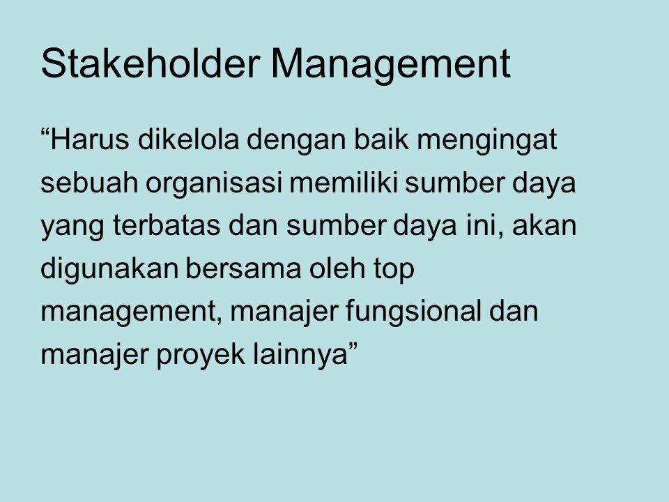 Stakeholder Management Harus dikelola dengan baik mengingat sebuah organisasi memiliki sumber daya yang terbatas dan sumber daya ini, akan digunakan bersama oleh top management, manajer fungsional dan manajer proyek lainnya