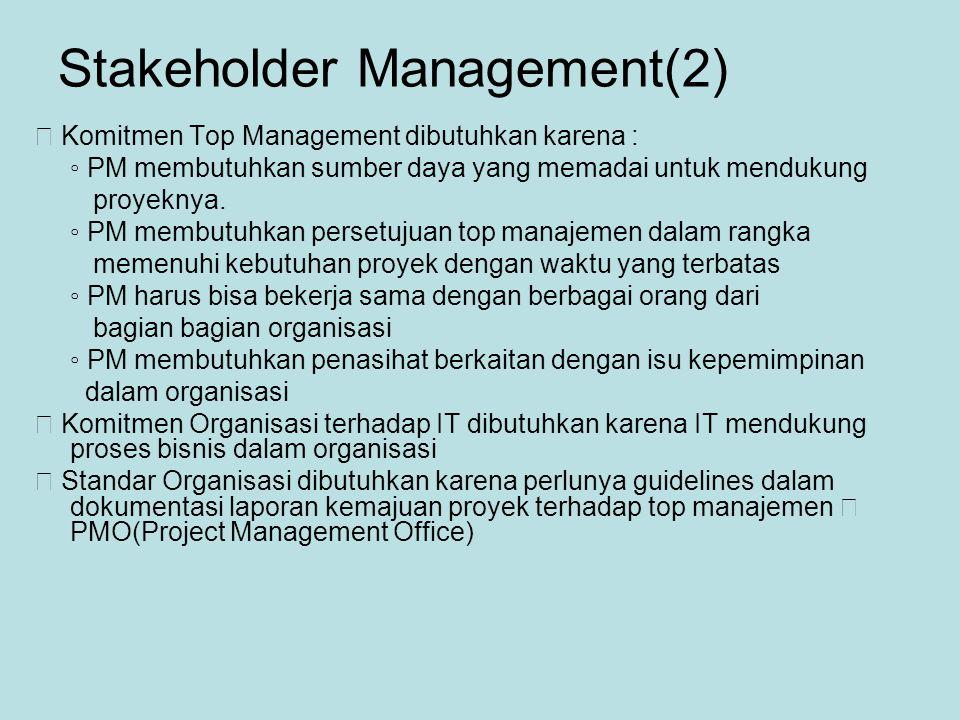 Stakeholder Management(2)  Komitmen Top Management dibutuhkan karena : ◦ PM membutuhkan sumber daya yang memadai untuk mendukung proyeknya.