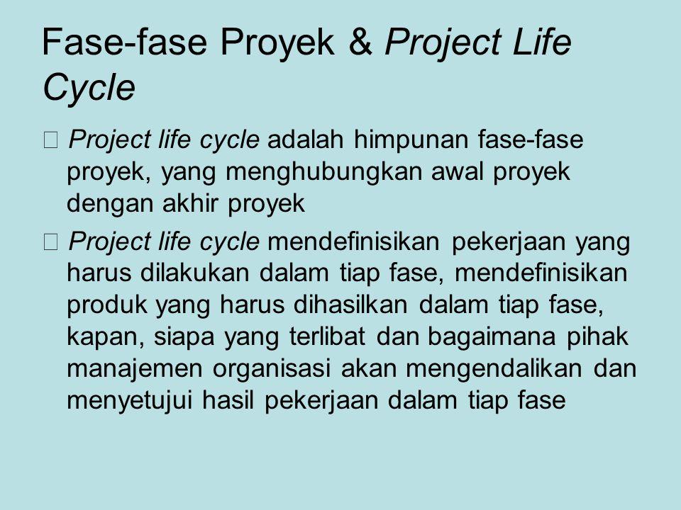Fase-fase Proyek & Project Life Cycle  Project life cycle adalah himpunan fase-fase proyek, yang menghubungkan awal proyek dengan akhir proyek  Project life cycle mendefinisikan pekerjaan yang harus dilakukan dalam tiap fase, mendefinisikan produk yang harus dihasilkan dalam tiap fase, kapan, siapa yang terlibat dan bagaimana pihak manajemen organisasi akan mengendalikan dan menyetujui hasil pekerjaan dalam tiap fase