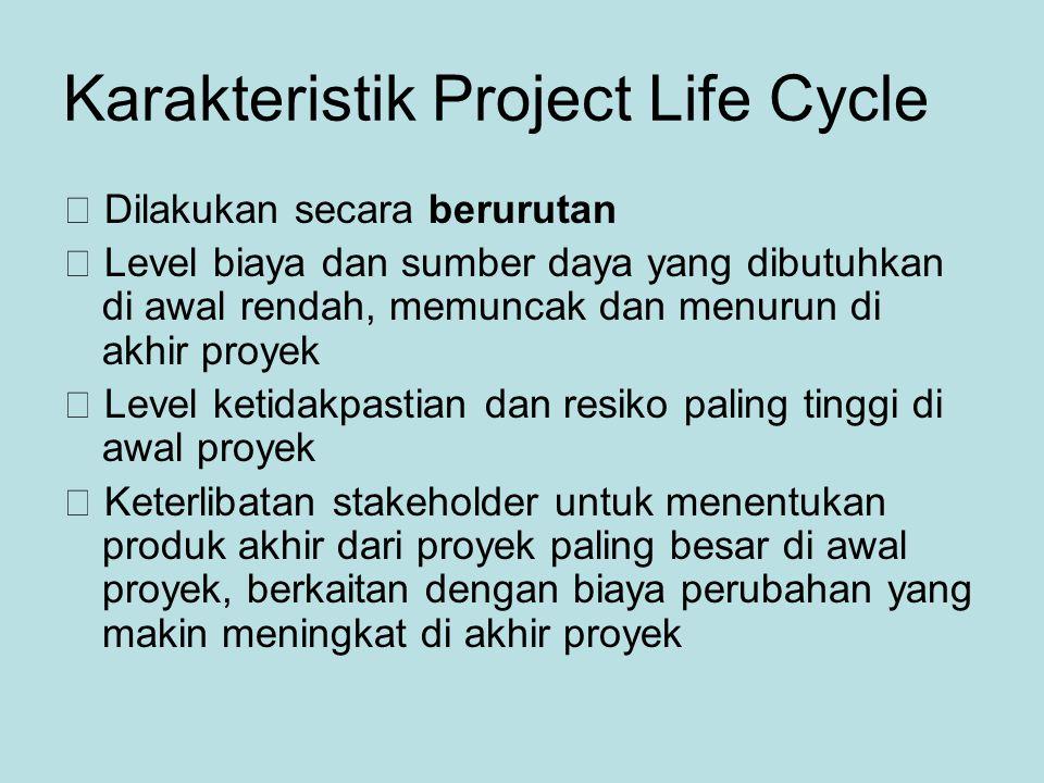 Karakteristik Project Life Cycle  Dilakukan secara berurutan  Level biaya dan sumber daya yang dibutuhkan di awal rendah, memuncak dan menurun di akhir proyek  Level ketidakpastian dan resiko paling tinggi di awal proyek  Keterlibatan stakeholder untuk menentukan produk akhir dari proyek paling besar di awal proyek, berkaitan dengan biaya perubahan yang makin meningkat di akhir proyek