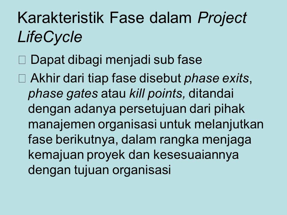 Karakteristik Fase dalam Project LifeCycle  Dapat dibagi menjadi sub fase  Akhir dari tiap fase disebut phase exits, phase gates atau kill points, ditandai dengan adanya persetujuan dari pihak manajemen organisasi untuk melanjutkan fase berikutnya, dalam rangka menjaga kemajuan proyek dan kesesuaiannya dengan tujuan organisasi