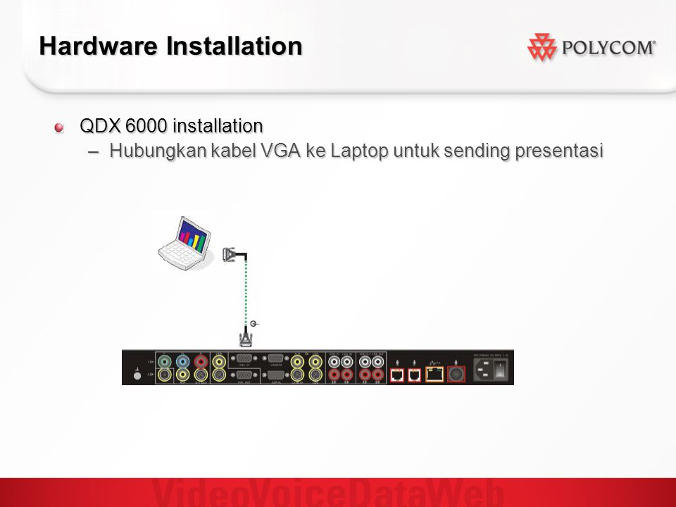 Hardware Installation QDX 6000 installation –Hubungkan kabel VGA ke Laptop untuk sending presentasi