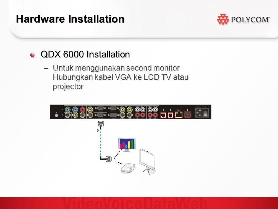 Hardware Installation QDX 6000 Installation –Untuk menggunakan second monitor Hubungkan kabel VGA ke LCD TV atau projector