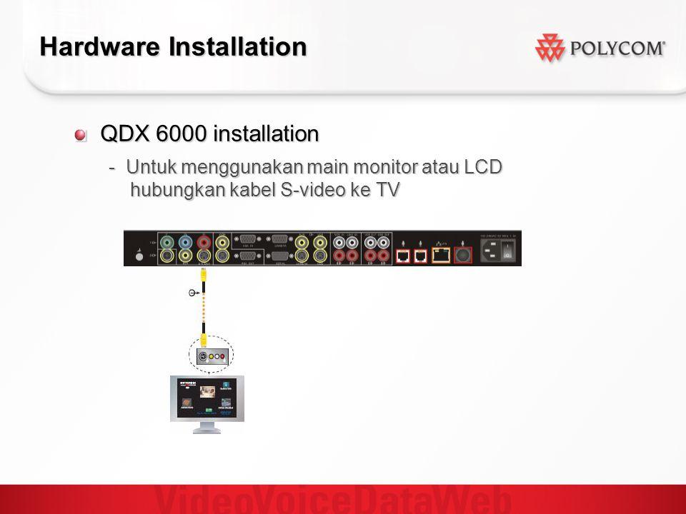 Hardware Installation QDX 6000 installation - Untuk menggunakan main monitor atau LCD hubungkan kabel S-video ke TV