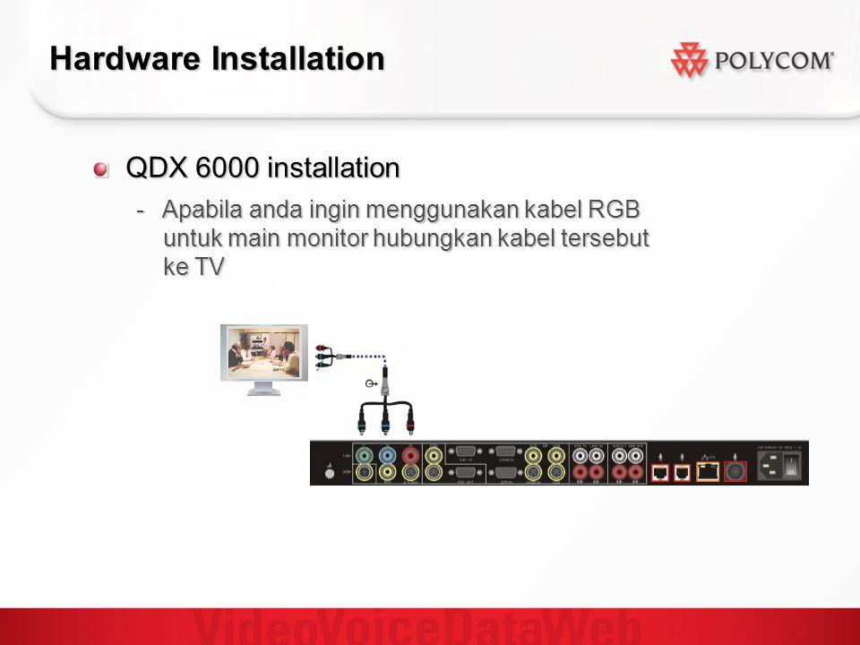Hardware Installation QDX 6000 installation - Apabila anda ingin menggunakan kabel RGB untuk main monitor hubungkan kabel tersebut ke TV