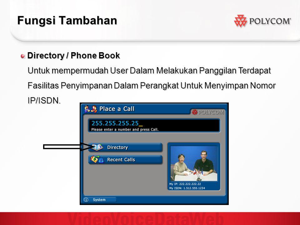 Fungsi Tambahan Directory / Phone Book Directory / Phone Book Untuk mempermudah User Dalam Melakukan Panggilan Terdapat Untuk mempermudah User Dalam Melakukan Panggilan Terdapat Fasilitas Penyimpanan Dalam Perangkat Untuk Menyimpan Nomor Fasilitas Penyimpanan Dalam Perangkat Untuk Menyimpan Nomor IP/ISDN.