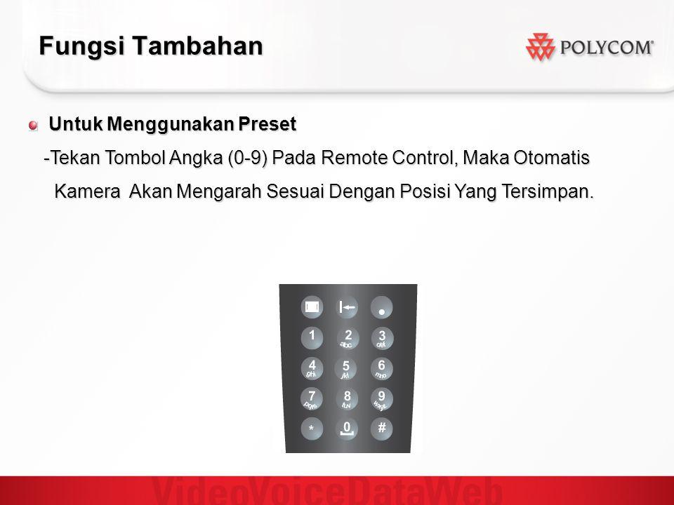 Fungsi Tambahan Untuk Menggunakan Preset Untuk Menggunakan Preset -Tekan Tombol Angka (0-9) Pada Remote Control, Maka Otomatis -Tekan Tombol Angka (0-9) Pada Remote Control, Maka Otomatis Kamera Akan Mengarah Sesuai Dengan Posisi Yang Tersimpan.