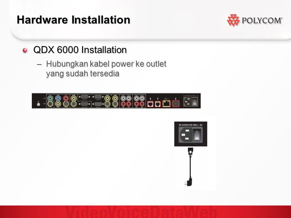 Hardware Installation QDX 6000 Installation –Hubungkan kabel power ke outlet yang sudah tersedia