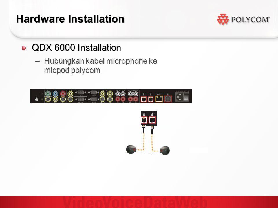 Hardware Installation QDX 6000 Installation –Hubungkan kabel microphone ke micpod polycom