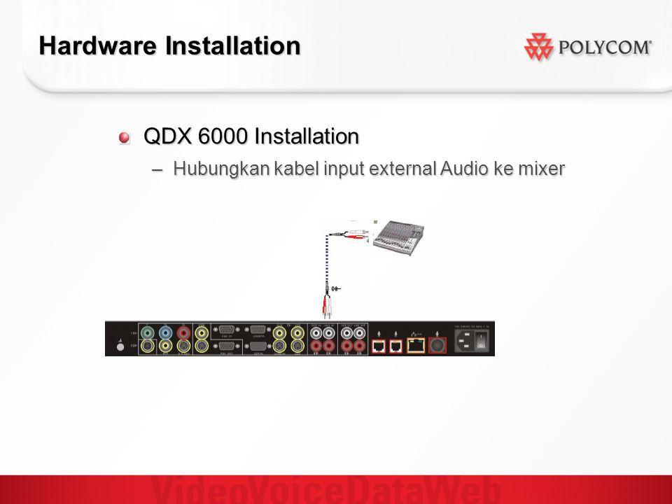 Hardware Installation QDX 6000 Installation –Hubungkan kabel input external Audio ke mixer