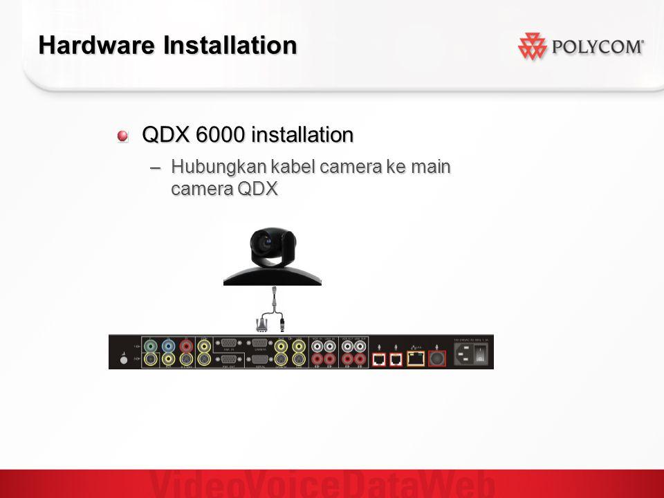 Hardware Installation QDX 6000 installation –Hubungkan kabel camera ke main camera QDX