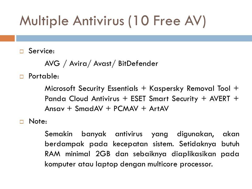 Multiple Antivirus (10 Free AV)  Service: AVG / Avira/ Avast/ BitDefender  Portable: Microsoft Security Essentials + Kaspersky Removal Tool + Panda Cloud Antivirus + ESET Smart Security + AVERT + Ansav + SmadAV + PCMAV + ArtAV  Note: Semakin banyak antivirus yang digunakan, akan berdampak pada kecepatan sistem.