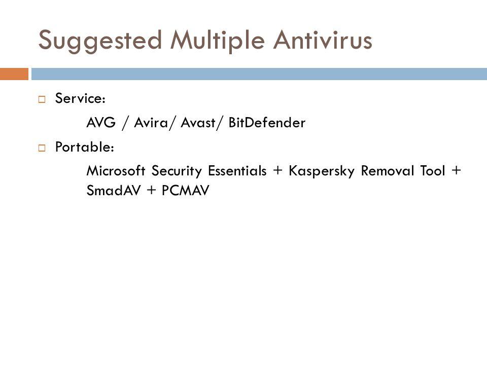 Suggested Multiple Antivirus  Service: AVG / Avira/ Avast/ BitDefender  Portable: Microsoft Security Essentials + Kaspersky Removal Tool + SmadAV + PCMAV