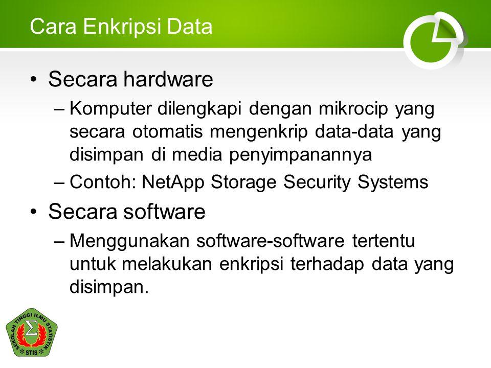 Cara Enkripsi Data •Secara hardware –Komputer dilengkapi dengan mikrocip yang secara otomatis mengenkrip data-data yang disimpan di media penyimpanann