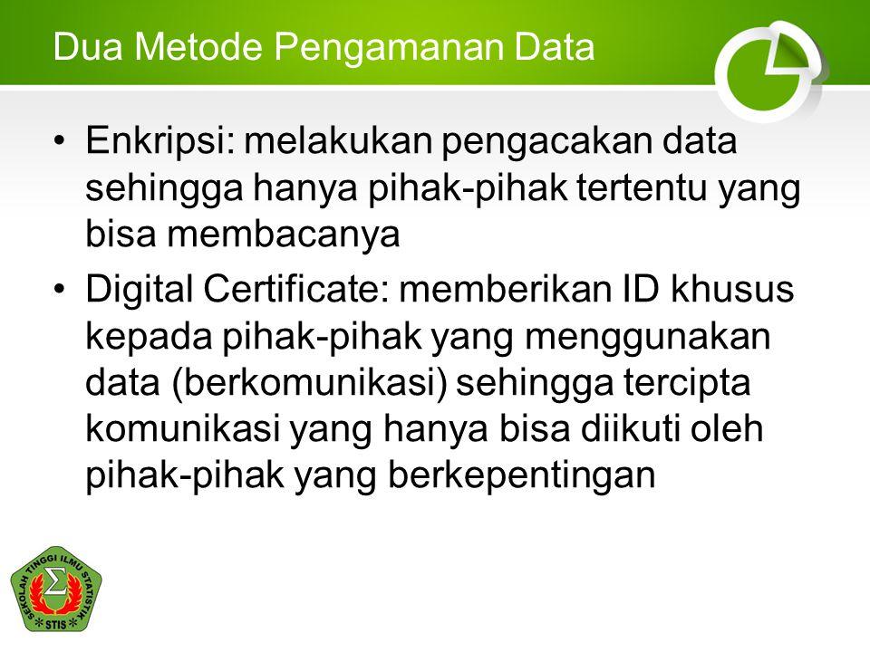 Dua Metode Pengamanan Data •Enkripsi: melakukan pengacakan data sehingga hanya pihak-pihak tertentu yang bisa membacanya •Digital Certificate: memberi